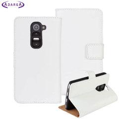Adarga LeatherStyle LG G2 Mini Tasche Wallet Case Weiß