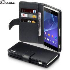 Encase Sony Xperia Z2 Genuine Leather Wallet Case - Black