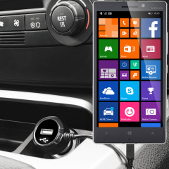 Keep your Nokia Lumia 930 fully charged on the road with this high power 2.4A Car Charger, featuring extendable spiral cord design. As an added bonus, you can charge an additional USB device from the built-in USB port!