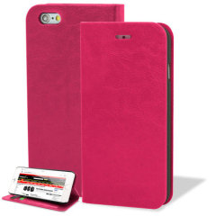 Protect your iPhone 6 Plus with this durable and stylish hot pink leather-style wallet case. What's more, this case transforms into a handy stand to view media.