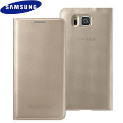Original Galaxy Alpha Tasche Flip Wallet Cover in Gold