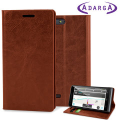 Adarga Stand And Type EE Kestrel Wallet Case - Light Brown