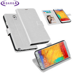 Adarga Leather-Style Samung Galaxy Note 3 Neo Wallet Case - White