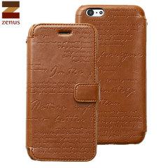 Zenus Lettering Diary Case iPhone 6S / 6 Ledertasche Braun