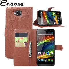 The Encase Wallet Case in brown sticks to the back of your Wiko Slide to provide enclosed protection and can also be used to hold your credit cards.