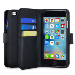 A sophisticated lightweight black genuine leather case with a magnetic fastener. The Olixar genuine leather wallet case offers perfect protection for your iPhone 6S, as well as featuring slots for your cards, cash and documents.