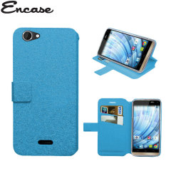 Encase Stand and Type Wiko Getaway Tasche Wallet Case in Blau