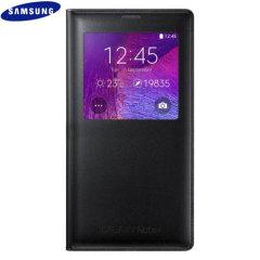 Originele Samsung Galaxy Note 4 S-View Cover Case - Smooth Zwart