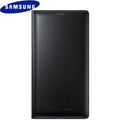 Official Samsung Galaxy Note 4 Flip Wallet Cover - Smooth Black