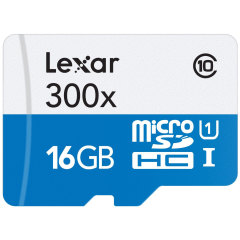 Lexar 16GB MicroSDHC Class 10 Memory Card with SD Adapter - Class 10