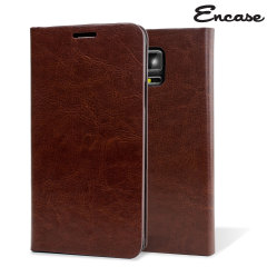 Encase Leather-Style Galaxy Note 4 Wallet Stand Case - Brown