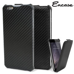Keep your iPhone 6 Plus safe from harm with the slim and stylish carbon fibre styled faux leather flip case.