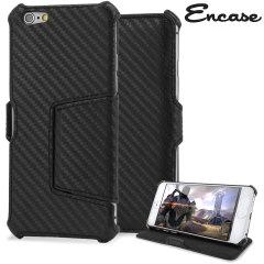 Encase Carbon Fibre Style iPhone 6 Plus Tasche mit Stand in Schwarz
