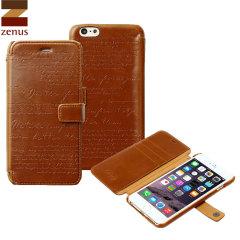 Custodia Lettering Diary Zenus per iPhone 6 Plus - Marrone