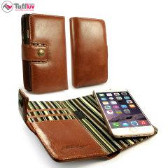 Plånboksfodralet Tuff-Luv med vintage-läder i brunt är ett utmärkt sätt att ta med alla dina värdesaker när du går hemifrån, eftersom fodralet har ett inbyggt RFID skydd. Tillverkat av det finaste lädret så det kompletterar din iPhone 6S / 6 perfekt.