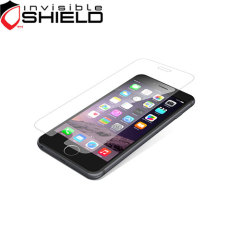 La precisión de los recortes del protector de la pantalla de vidrio invisibleSHIELD se aplica directamente a la parte frontal del iPhone 6 Plus para una mayor claridad de imagen superior y protección ultra suave.