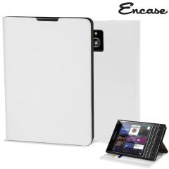Encase Leather-Style BlackBerry Passport Wallet Case - White
