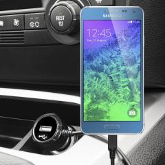 Altijd een opgeladen Samsung Galaxy Alpha met deze High Power 2.4A Auto Oplader. De oplader heeft een spiraal vormig snoer en een extra USB poort om een tweede toestel op te laden.