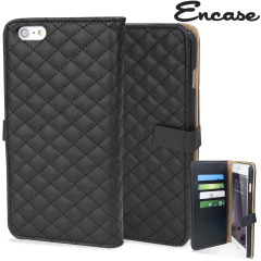 Encase Leren-Style Diamond Quilted iPhone 6 Plus Wallet Case - Zwart
