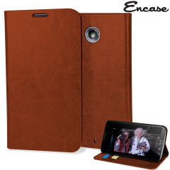Encase Leather-Style Nexus 6 Wallet Case - Brown