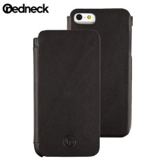 Funda cuero tipo libro para iPhone 5S/ 5 Redneck Business Line-Negra