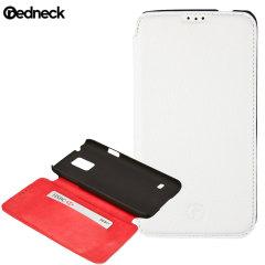 Redneck Red Line Leather Samsung Galaxy S5 Book Case - White