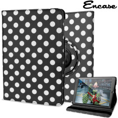 Protect your iPad Mini 3 / 2 / 1 with this fantastic black with white polka dots leather-style case with 360 degree rotating viewing stand for portrait and landscape positions.