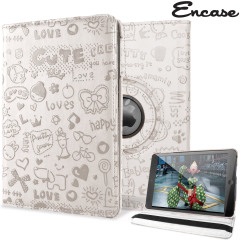 A lightweight white leather-style case with cute doodle design. Offering perfect protection for your iPad Mini 3 / 2 / 1 with rotating screen placement and built-in viewing stand.