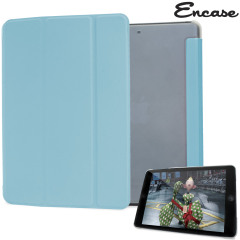 The Folding Stand Case from Encase in blue for the iPad Mini 3 / 2 / 1 combines a clear polycarbonate shell with a built-in folding front flip cover. The flip cover doubles as a dual-position stand, ideal for typing and watching media.