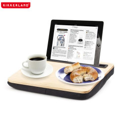 Kikkerland iBed Work Lap Desk W/ Tablet & Smartphone Holder - Wood