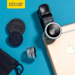 Enhance your smartphone and tablet photography with this universal 3-in-1 lens kit. Combining fisheye, wide-angle and macro lenses in one easy quick-connect product with universal clip by Olixar.