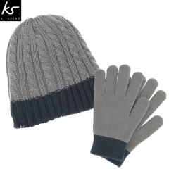 KitSound Audio Beanie and Touch Screen Gloves Pack - Grey