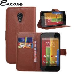 Encase Moto G 2nd Gen Leather-Style Wallet Case - Brown