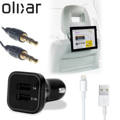 Meet the ultimate tablet car pack. Providing everything you'll need for your iPad on a long car journey, the Olixar Ultimate Car Pack keeps your Lightning device charged, mounted securely for easy viewing and ready to listen to through your car's stereo.