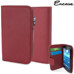 Encase Samsung Galaxy S3 Mini Leather-Style Wallet Case - Red
