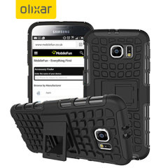 Protect your Samsung Galaxy S6 from bumps and scrapes with this black ArmourDillo case from Olixar. Comprised of an inner TPU case and an outer impact-resistant exoskeleton, with a built-in viewing stand.