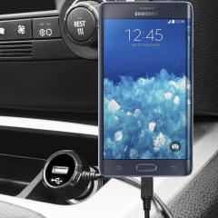 Altijd een opgeladen Samsung Galaxy Note Edge met deze High Power 2.4A Auto Oplader. De oplader heeft een spiraal vormig snoer en een extra USB poort om een tweede toestel op te laden.