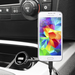 Keep your Samsung Galaxy S5 Mini fully charged on the road with this high power 2.4A Car Charger, featuring extendable spiral cord design. As an added bonus, you can charge an additional USB device from the built-in USB port!