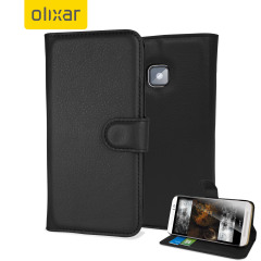 Olixar Leather-Style HTC One M9 Lommebok Deksel - Sort