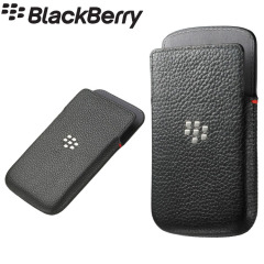 Prevent scratches and damage to your BlackBerry Classic with this black official BlackBerry leather pocket pouch with a built-in battery saving proximity sensor.