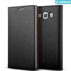 Verus Crayon Diary Samsung Galaxy A7 Leather-Style suojakotelo - Musta