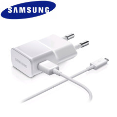 Offizielles 2A Samsung EU Ladegerät mit Mikro USB Kabel in Weiß