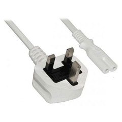 UK Mains Plug to Figure 8 White Power Cable - 1M