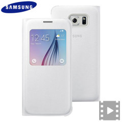 Ideal for checking the time or screening and answering incoming calls without opening the case. This white official Samsung S View Cover for the Samsung Galaxy S6 is slim and stylish.