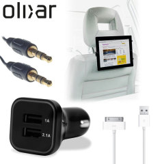 Meet the ultimate tablet car pack. Providing everything you'll need for your iPad on a long car journey, the Olixar Car Pack keeps your Apple 30-pin device charged, mounted securely for easy viewing and ready to listen to through your car's stereo.