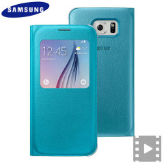 Official Samsung Galaxy S6 S View Premium Cover Case - Blue