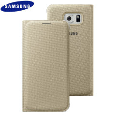 Original Galaxy S6 Tasche Flip Wallet Fabric Cover in Gold