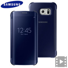 Cover originale Clear View Samsung per Galaxy S6 Edge - Blu Scuro