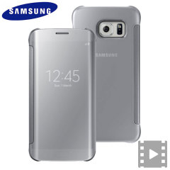Officiellt Samsung Galaxy S6 Edge Clear View Cover Skal - Silver