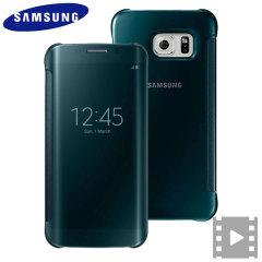 Cover originale Clear View Samsung per Galaxy S6 Edge - Verde